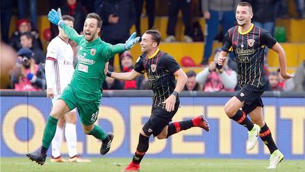 Benevento iguala 2-2 ante AC Milan con gol de cabeza del portero en el 95