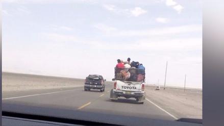 Nazca: Personas se trasladan en la tolva de una camioneta