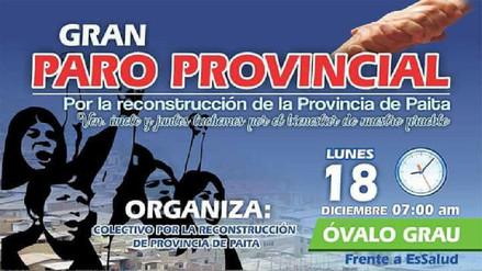 Paro provincial en Paita para exigir obras de reconstrucción