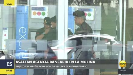 Delincuentes armados asaltaron un banco y se llevaron 30 mil soles de un cliente en La Molina