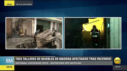 Un gran incendio consumió tres talleres de carpintería en Villa El Salvador