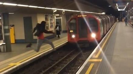 Un joven puso su vida en riesgo al saltar delante de un tren
