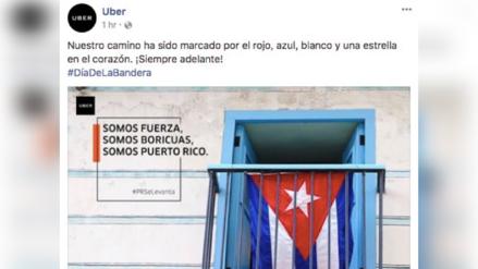 Uber publicó la bandera de Cuba para saludar a Puerto Rico en el Día de la Bandera