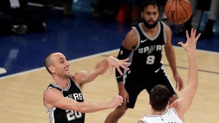 Manu Ginóbili anotó un triple 'invisible' en el triunfo de los Spurs