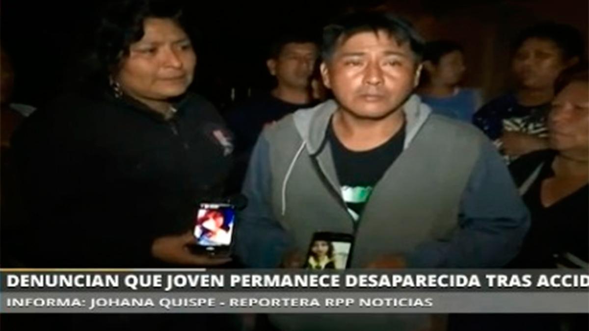 Padres piden continuar búsqueda del cuerpo de su hija en Pasamayo