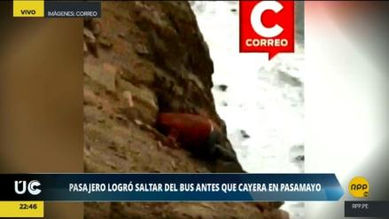 Grabaron a sobreviviente escalando el abismo luego del accidente en Pasamayo