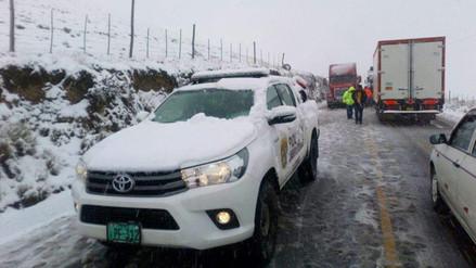 La Oroya: caída de nevada bloquea pase en la Carretera Central