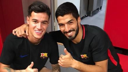 Luis Suárez le dio la bienvenida a Philippe Coutinho en el Barcelona
