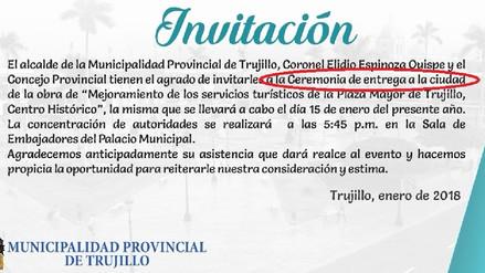Trujillo: Alcalde anuncia entrega de plaza de armas para el 15 de enero