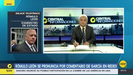 """Rómulo León: """"Alan García está resquebrajando las bases morales del aprismo"""""""