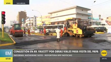 Gran congestión en la avenida Faucett por obras de parchado de pistas