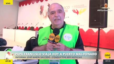 La prensa espera la llegada del papa Francisco a Puerto Maldonado