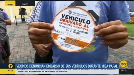 Vecinos denunciaron que sus vehículos fueron llevados al depósito durante misa papal