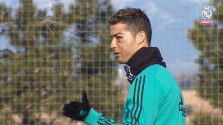Cristiano Ronaldo regresó a los entrenamientos tras su golpe en el ojo