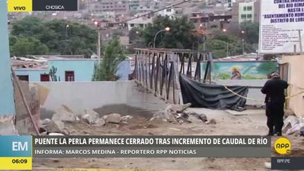 Clausuran el puente La Perla de Chosica por crecida del río Rímac