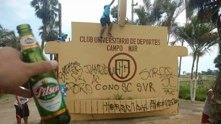 Cristal le envió mensaje a la 'U' luego de que barristas hicieran pintas en Campo Mar