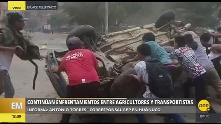 Agricultores y transportistas se enfrentaron con palos y piedras en Huánuco