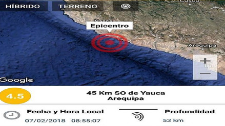 Dos nuevos sismos se reportaron en la región Arequipa
