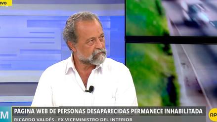 """Ex viceministro Valdés: """"El 40% de personas desaparecidas son menores de edad"""""""