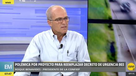 Benavides: Si el nuevo DU 003 no sale antes de que el primero venza, el Gobierno deberá actuar