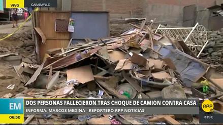Carabayllo | Dos personas murieron tras choque de camión contra vivienda