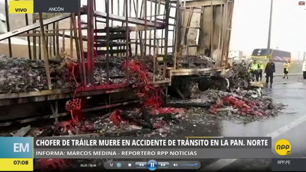 El chofer de un tráiler murió calcinado tras chocar contra un camión en Ancón