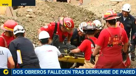 Dos obreros mueren tras quedar sepultados en derrumbe en Villa María del Triunfo