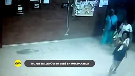 Investigan caso de mujer que sacó a bebé de hospital en una mochila
