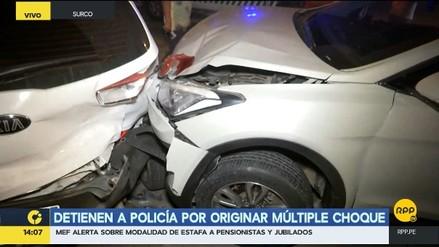 Detienen a policías por originar múltiple choque en Surco