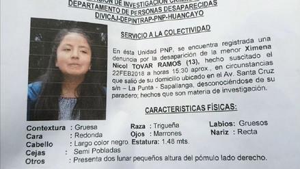Buscan a niña desaparecida hace cuatro días en Huancayo