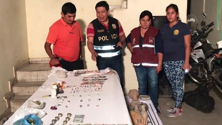 Policía de Cayaltí detuvo a dos individuos con droga y huacos