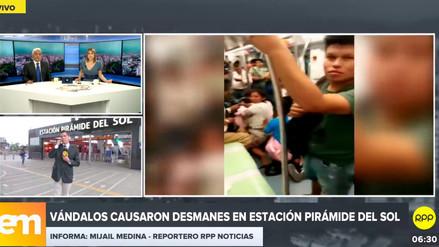 Vándalos causaron desmanes en estación Pirámide del Sol del Metro de Lima