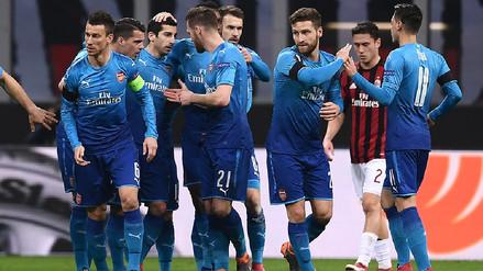 Arsenal se acerca a los cuartos de Europa League con un triunfo por 2-0 ante Milan
