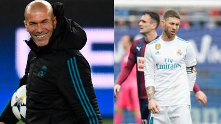 Zinedine Zidane reveló que Sergio Ramos fue al baño en pleno partido ante Eibar