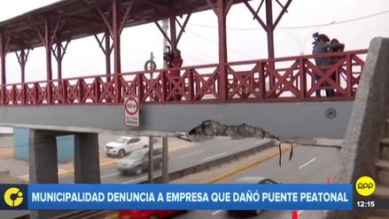 Restringen acceso al puente peatonal de Barranco que fue dañado por camión en la Costa Verde