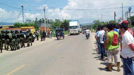 Se restablece tránsito bloqueado por huelga de productores de maíz en San Martín