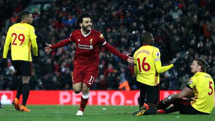 Mohamed Salah le anotó cuatro goles al Watford de André Carrillo