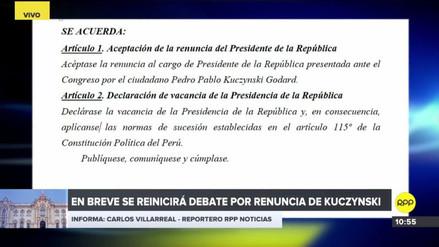 Esto dice la Resolución Legislativa de aceptación de la renuncia de PPK