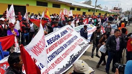 Trabajadores de construcción civil de Junín realizan marcha contra la corrupción