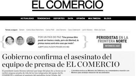 Diario El Comercio de Ecuador cambia su portada a blanco y negro por el asesinato a periodistas
