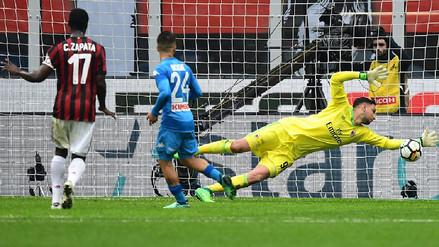 Gianluigi Donnarumma salvó al Milan ante el Nápoli con esta fenomenal atajada