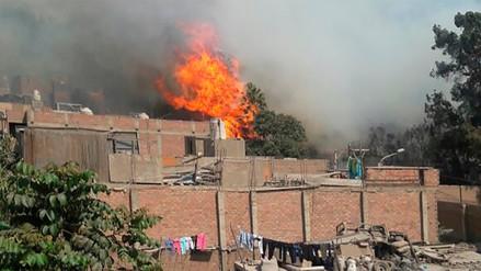 Un incendio forestal se expande hasta las viviendas en Chaclacayo