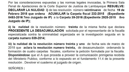 Primera Sala Penal deja sin efecto desacumulación del caso Wachiturros