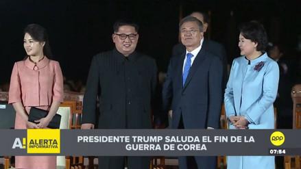 La cumbre entre las dos Coreas culminó con un espectáculo de luz y sonido