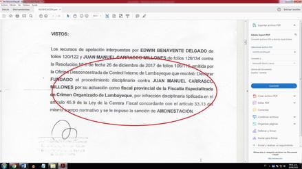 Fiscalía Suprema amonesta a fiscal Juan Carrasco por conducta funcional