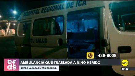 Una ambulancia que trasladaba a menor herido desde Ica quedó varada en San Bartolo