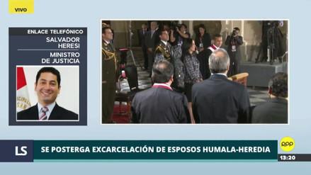 Heresi confirmó que el INPE aún no recibe orden de excarcelación de Humala y Heredia