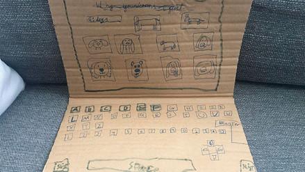 Una niña creó su laptop de cartón y generó una ola solidaria en Internet