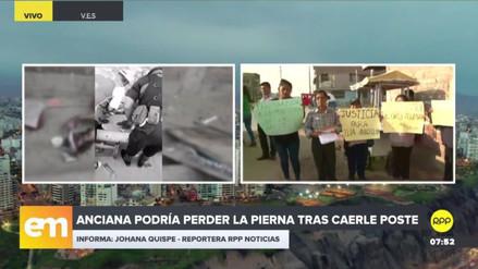 Una anciana puede perder una pierna tras caerle un poste en Villa El Salvador
