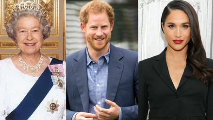 Los protagonistas de la boda real: la reina Isabel II, el príncipe Harry y Meghan Markle